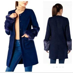 BRAND NEW Removable Faux Fur Sleeves COAT Jacket
